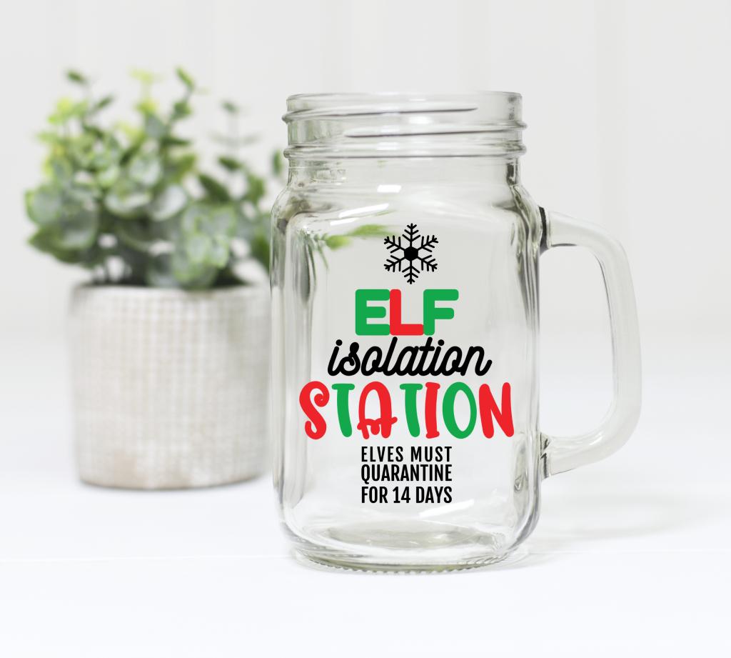 mason jar with elf isolation station design