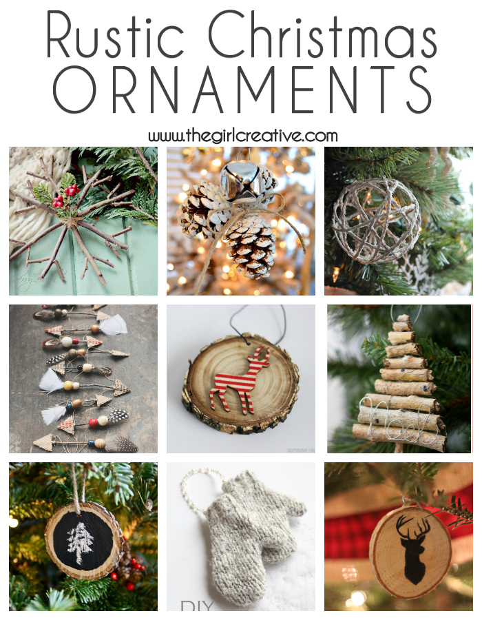 A beautiful collection of DIY rustic Christmas ornaments. Tons of inspiration for a rustic Christmas and many of them are so inexpensive to make.