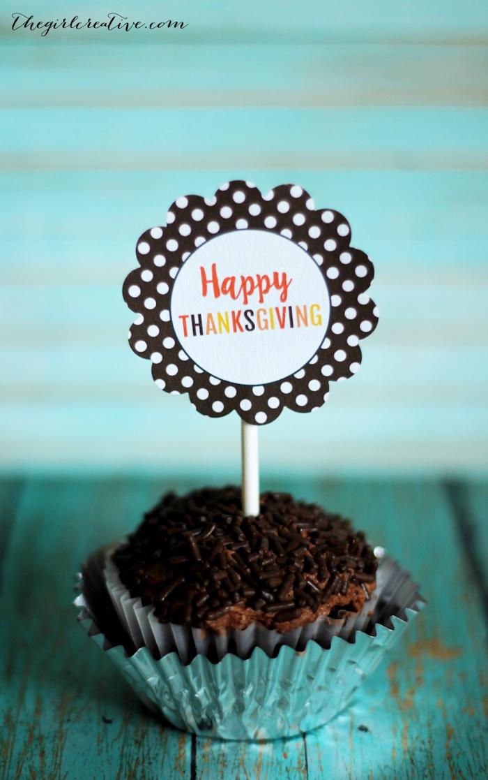 Thanksgiving Cupcake Toppers - free printable