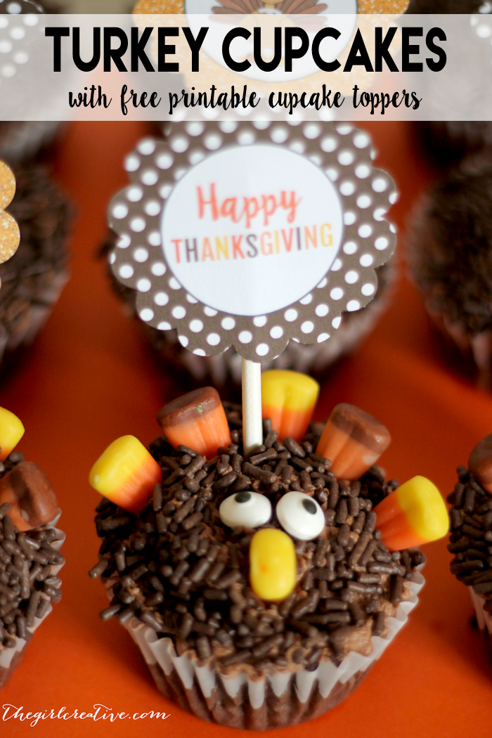 Easy to make Turkey Cupcakes to add to your Thanksgiving dessert table. Printable Thanksgiving Cupcake Toppers