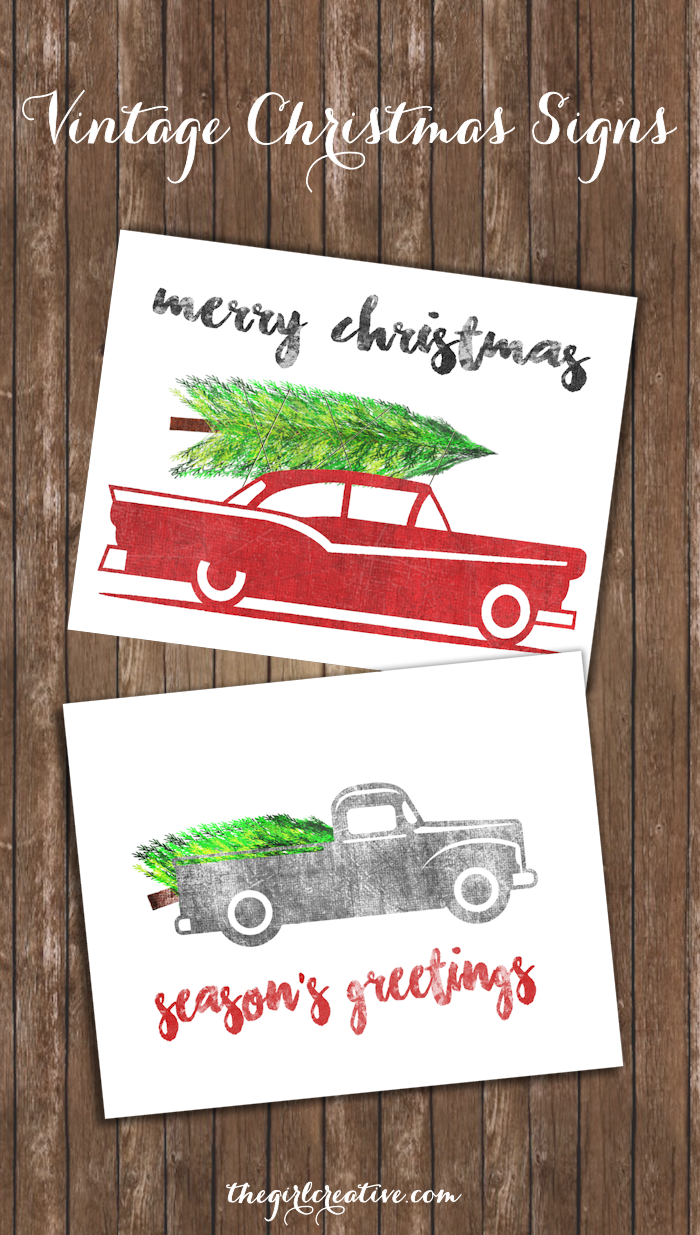 free vintage christmas signs printables simple vintage rustic designs to add to your christmas decor - Christmas Decor Signs