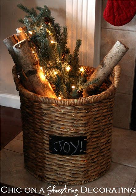 rustic-birch branch lighted basket