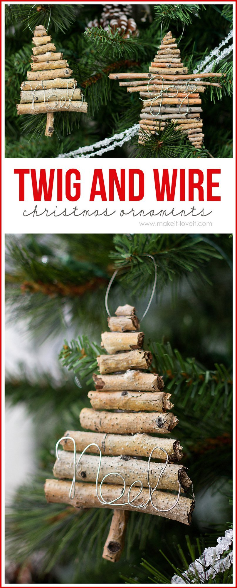 rustic-twig and wire christmas ornaments