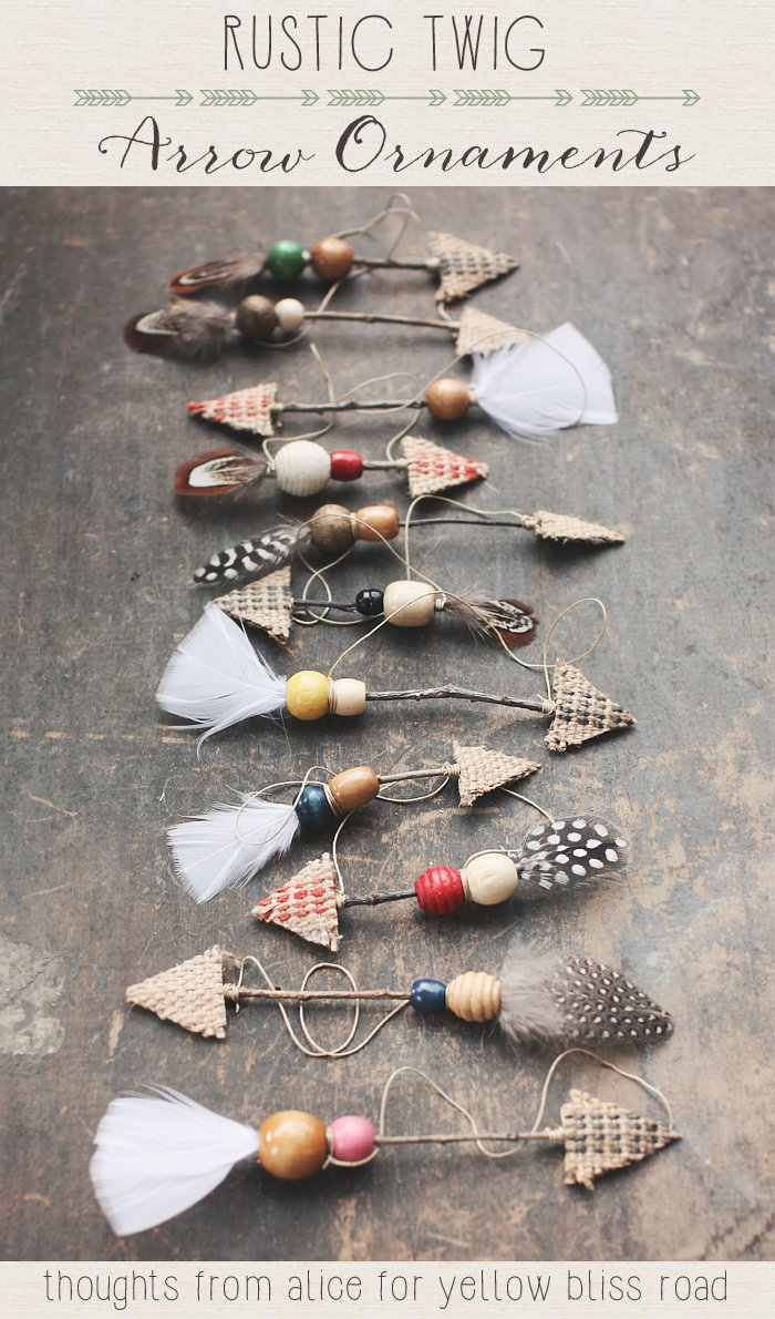 rustic-twig arrow ornaments
