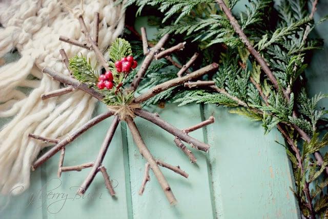 rustic-twig snowflake ornaments
