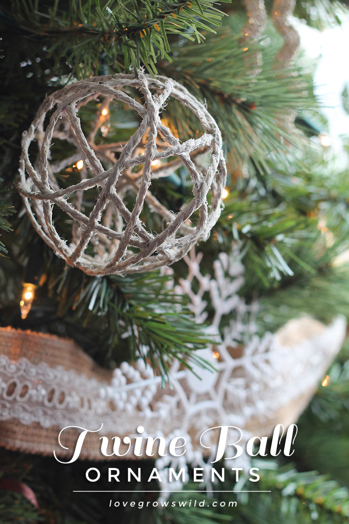 rustic-twine ball ornaments
