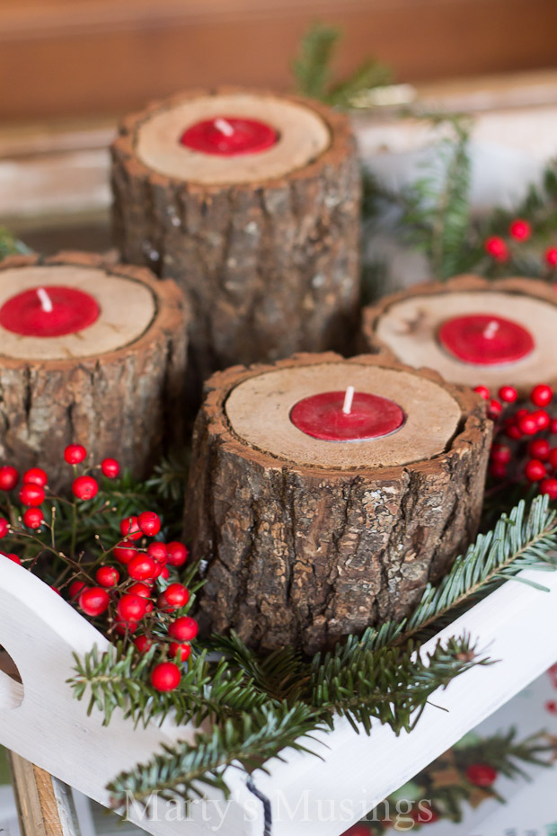 rustic wood candle holders - Rustic Christmas Decorations