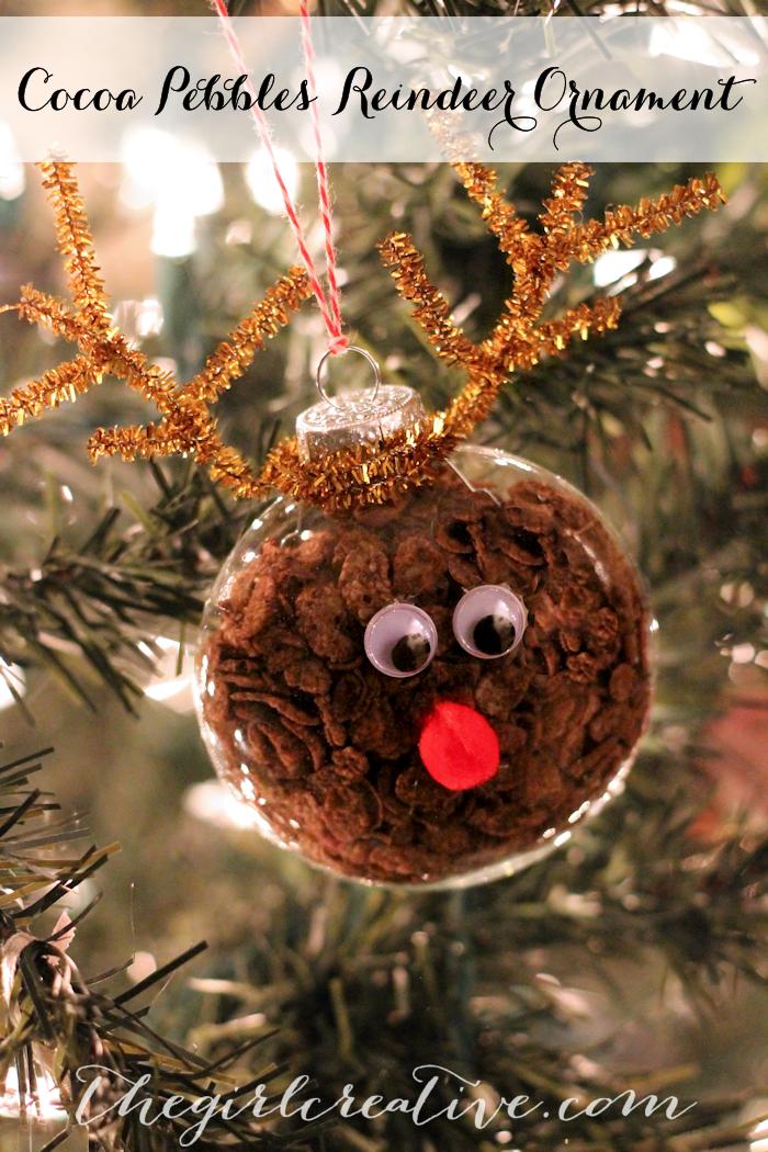 Cocoa Pebbles Reindeer Ornament