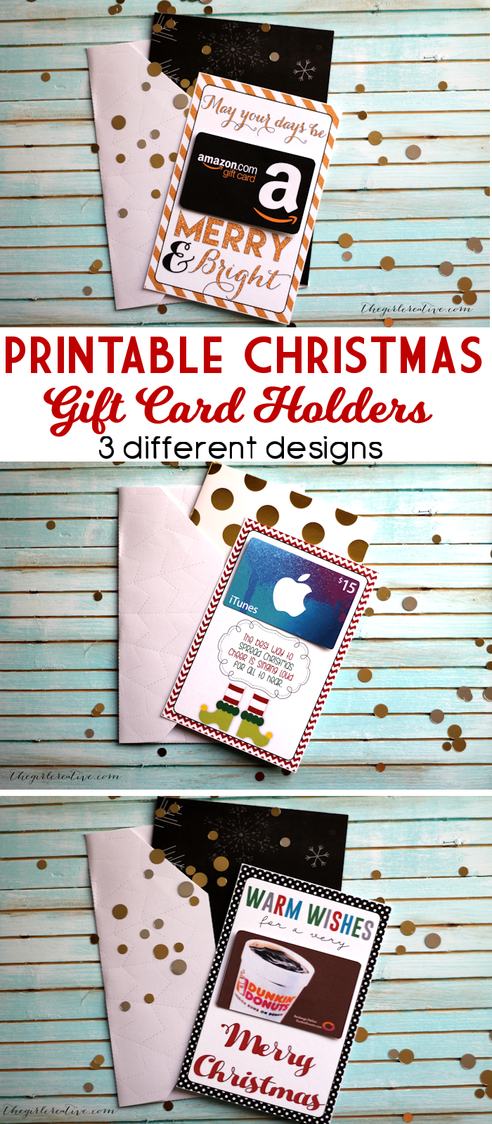 Printable Christmas Gift Card Holders - The Girl Creative