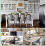 Dream Kitchen Inspiration - featuring gorgeous white cabinets, farmhouse sink, center island with seating and LG Black Stainless Steal Appliances #LGLimitlessDesign #spon
