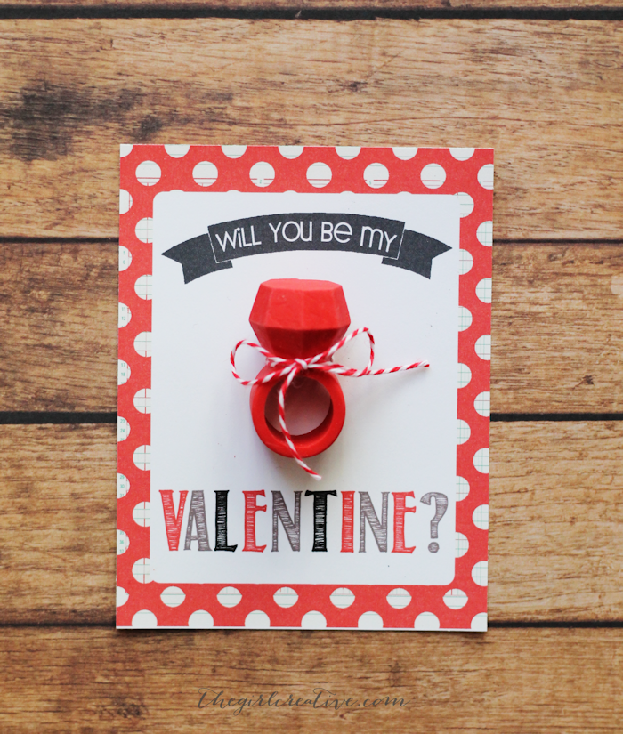 Eraser Ring Valentines - Printable valentine cards to go with adorable engagement ring erasers. The perfect non-candy valentine for your children to hand out at school.