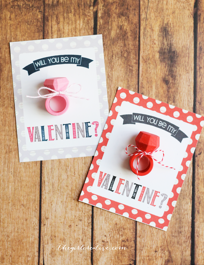 Eraser Ring Valentines The Girl Creative – Candy Valentine Card