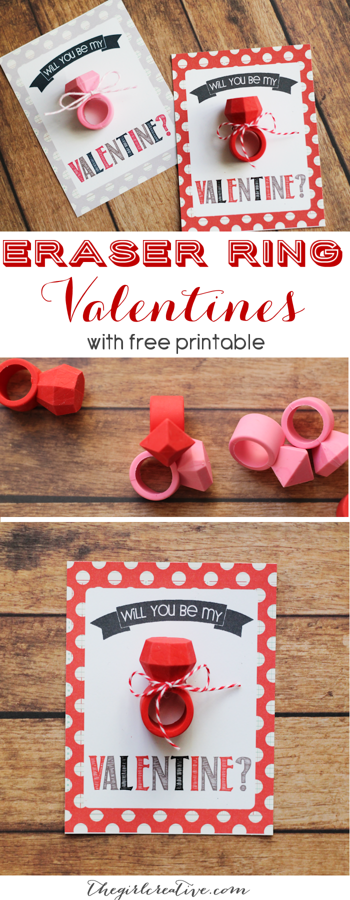 Eraser Ring Valentines - The perfect non-candy classroom valentine to share. Complete with free printable
