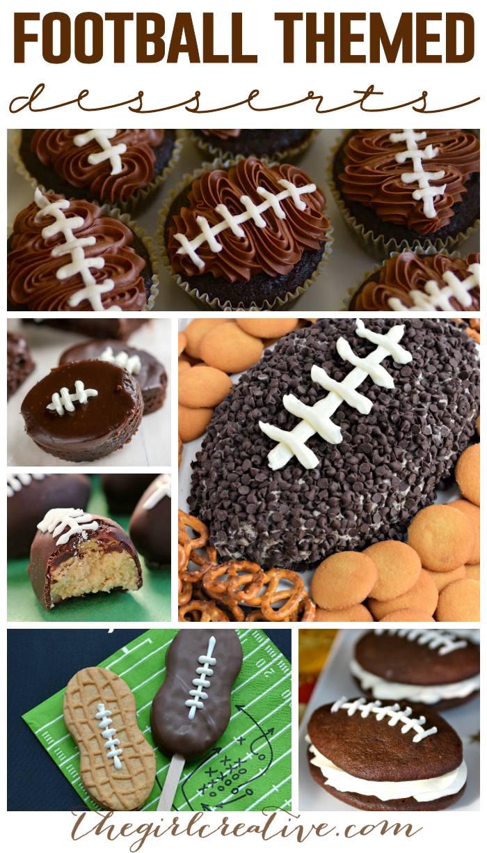 Football themed desserts are the perfect treats for Super Bowl Sunday. Football brownies, cookie dough truffles, football brownies and cupcakes