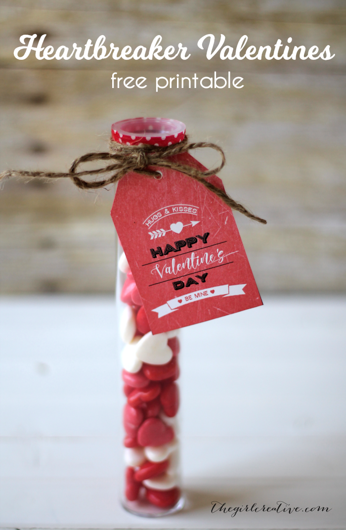 Hearbreaker Valentines- Fill up plastic tubes with festive Heartbreaker Gobstoppers and you have a great gift idea for Valentine's Day. Free printable Vintage Valentine Tags