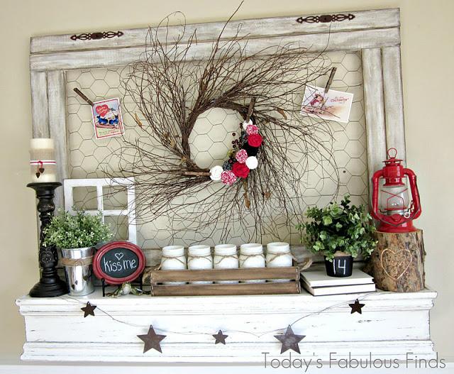 Valentine Wreath Mantel - fabulous finds