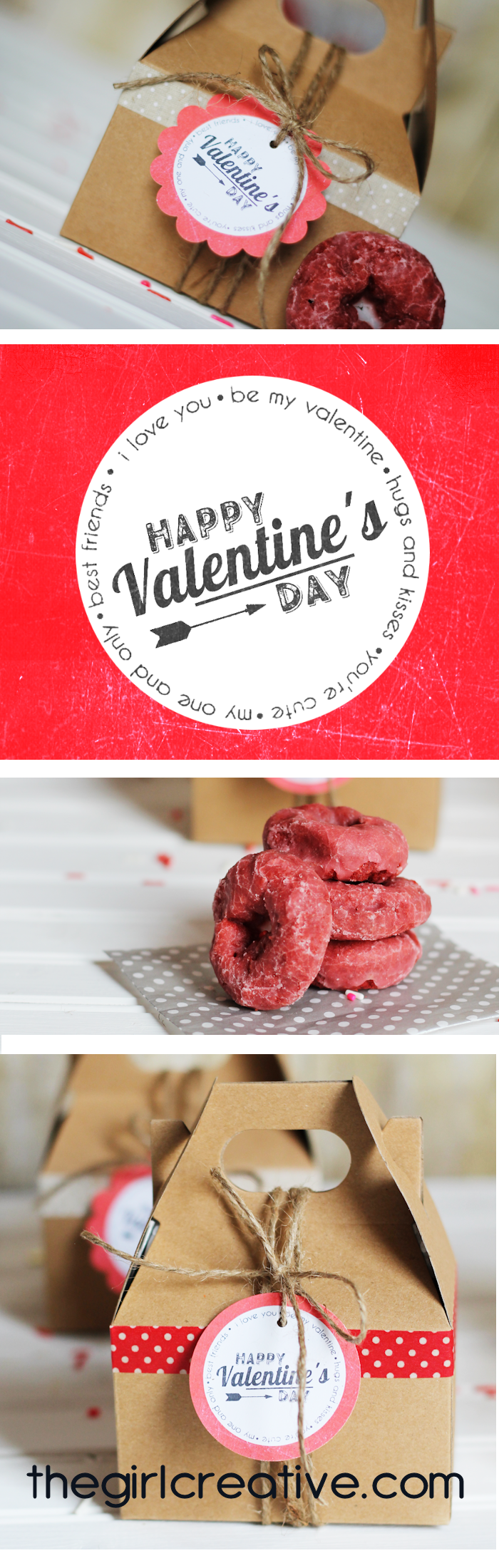 Delicious Red Velvet Valentine's Day Donuts all wrapped up in a cute box with free printable Vintage Valentine's Day Tags