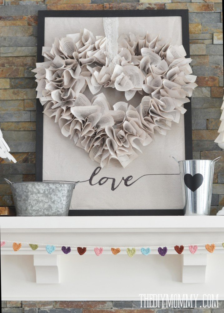 book page heart wreath-diy mommy
