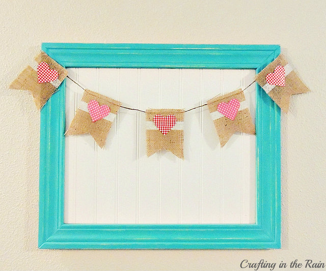 burlap heart banner-crafting in the rain