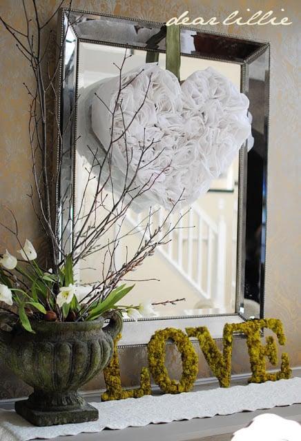 valentine white wreath with mirror - dear lillie