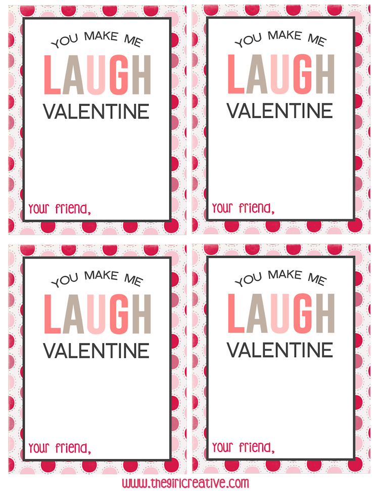 Printable Classroom Valentines - You Make Me Laugh, Valentine - to be used with Laffy Taffy