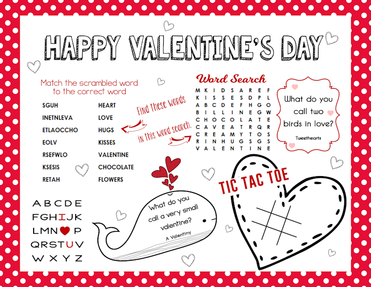 Free Printable Valentine\'s Day Activity Sheet - The Girl Creative