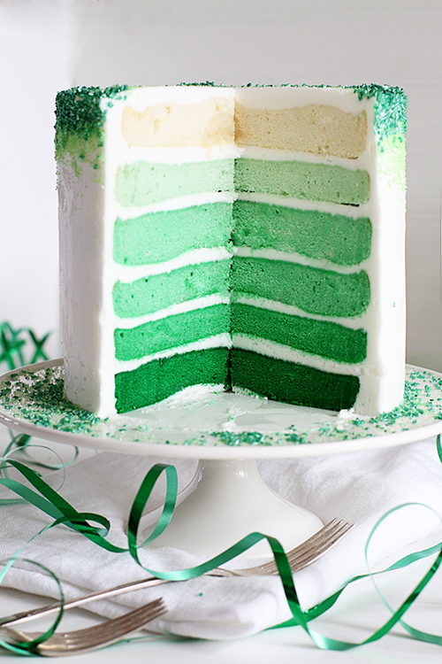 rainbow-green ombre cake