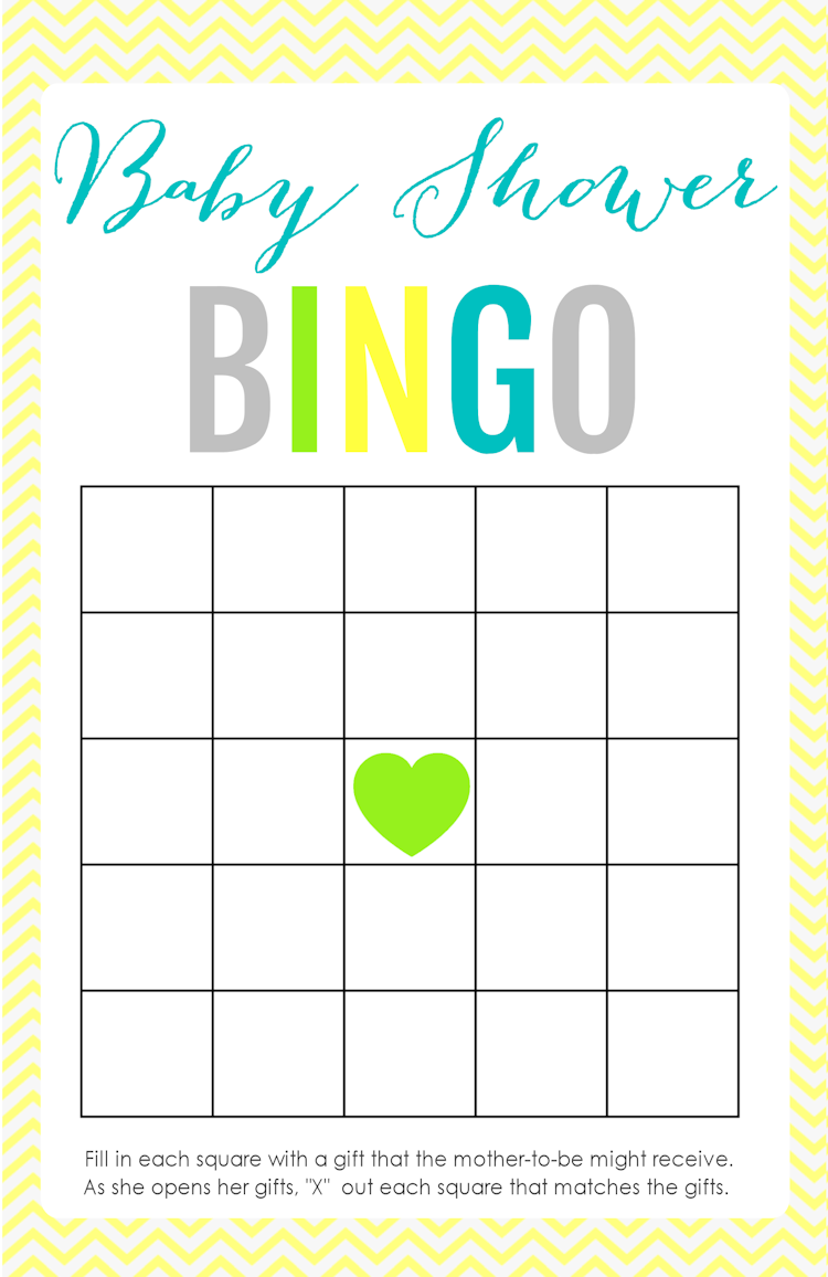 Free Printable Baby Shower Bingo Game