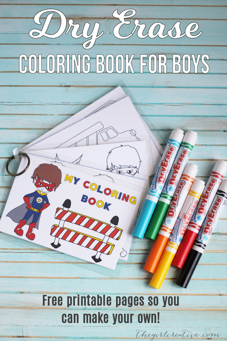 Dry Erase Coloring Book for Boys - Free printable pages so you can make your own. The perfect busy book for busy boys!