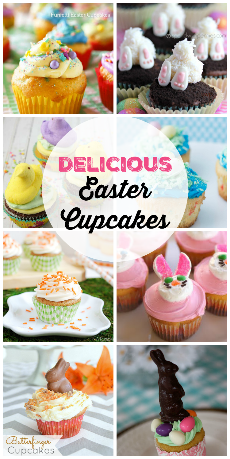 Delicious Easter Cupcakes - From Bunny Butts to Peeps this collection is full of creative ways to decorate cupcakes for Easter.