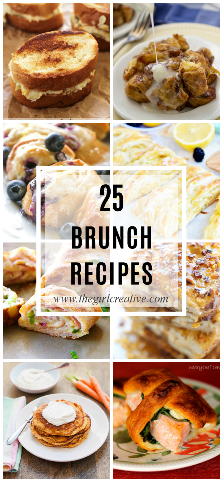 25 Brunch Recipes - Perfect for Mother's Day or any get together where you want to keep the menu light. Muffins, french toast, wraps, sliders, bread, eggs - lots of inspiration.