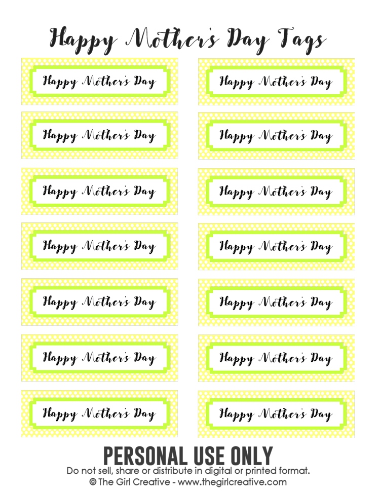 Happy Mother's Day Printable gift tags - PERSONAL USE ONLY - free printables