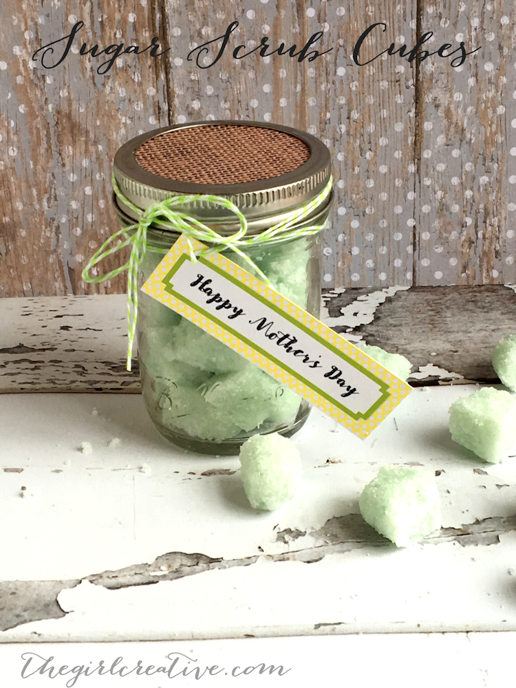 Sugar Scrub Cubes Mother's Day Mason Jar Gift idea - simple and easy and even dads and kids can do it together. The perfect way to let mom pamper herself a bit on Mother's Day