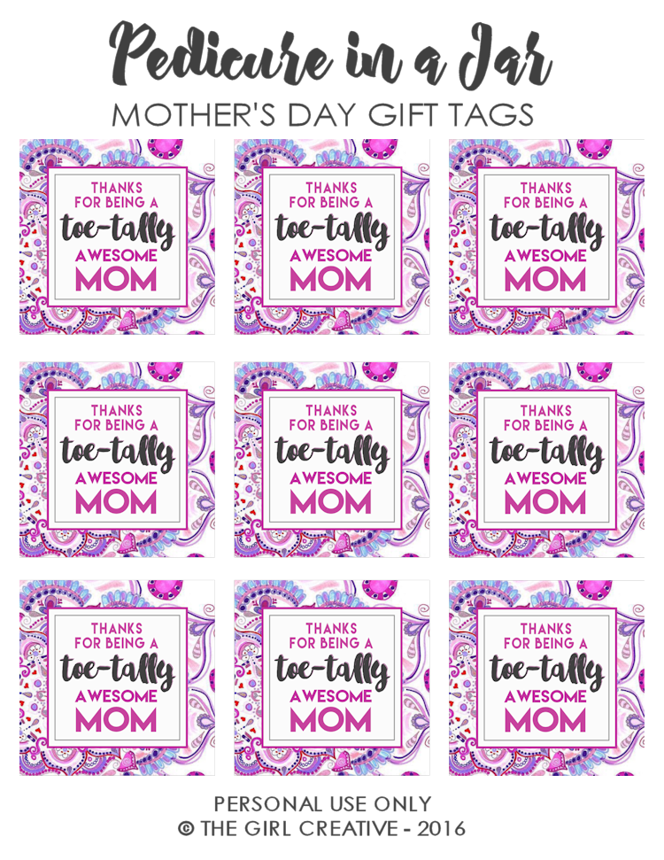 Toe-tally Awesome Mom Mother's Day Gift Tags
