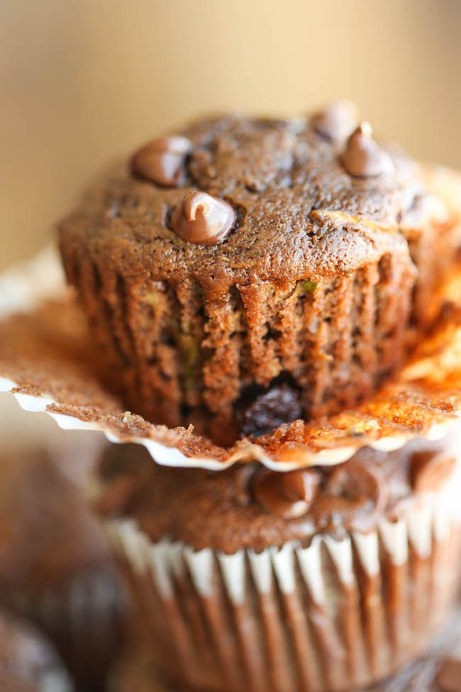 double chocolate chip zucchini muffins-damn delicious