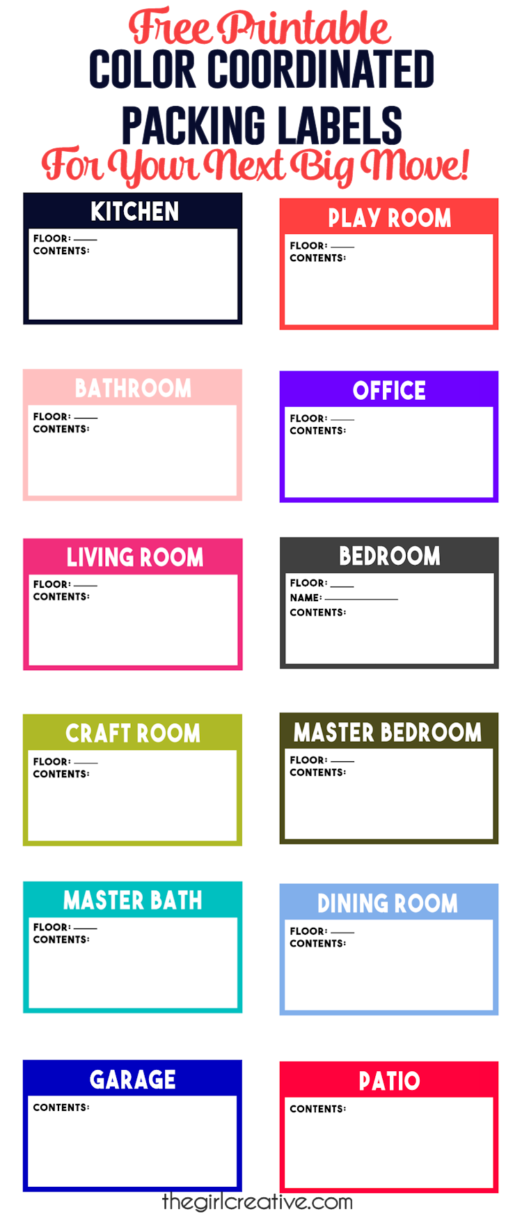 Color Coordinated Packing Labels for Your Next Big Move The – Packing Label Template