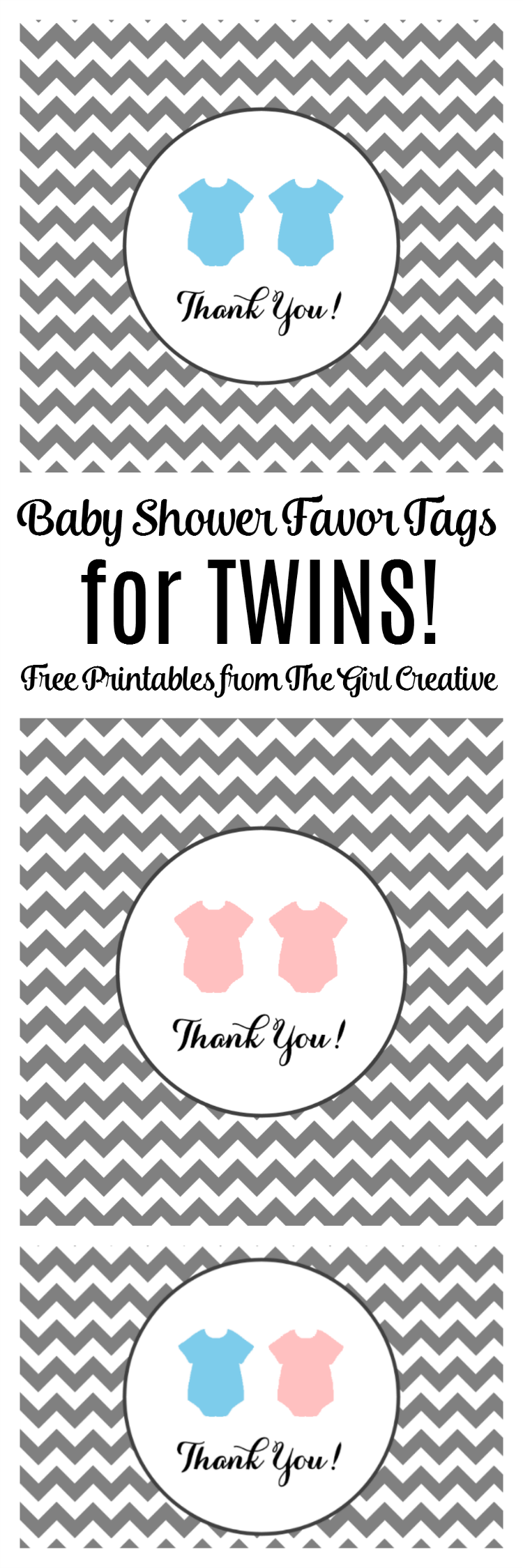 Baby Shower Favor Tags for TWINS