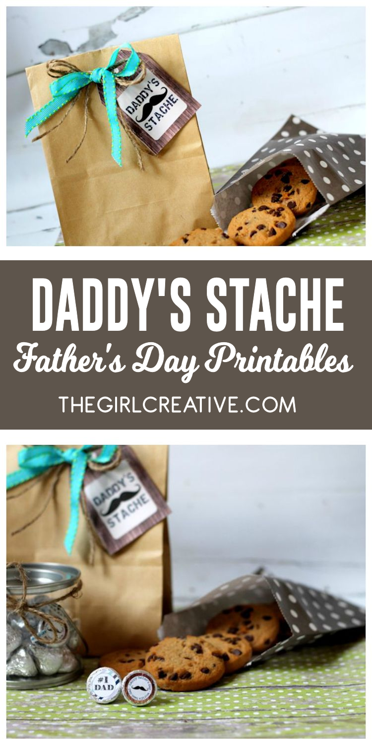 Daddy's Stache Father's Day Printables - Free Printable Father's Day Gift Tags and Hershey Kisses Labels