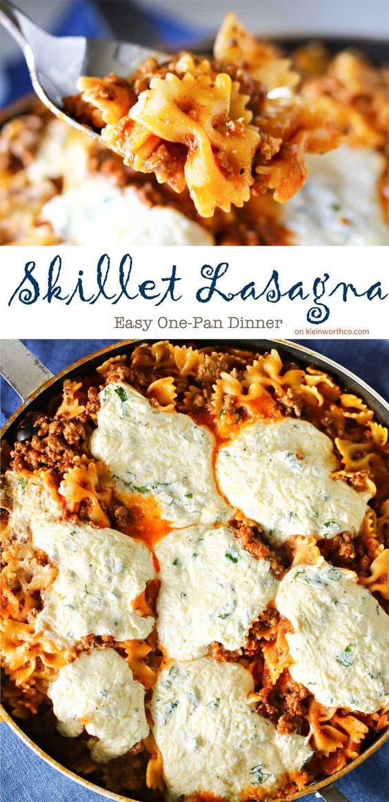 one pan skillet lasagna-kleinworth