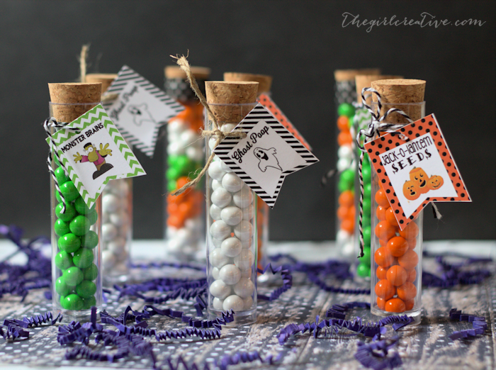 Halloween Test Tube Party Favors with Printable Tags - Ghost Poop, Monster Brains, Jack-o-Lantern Seeds