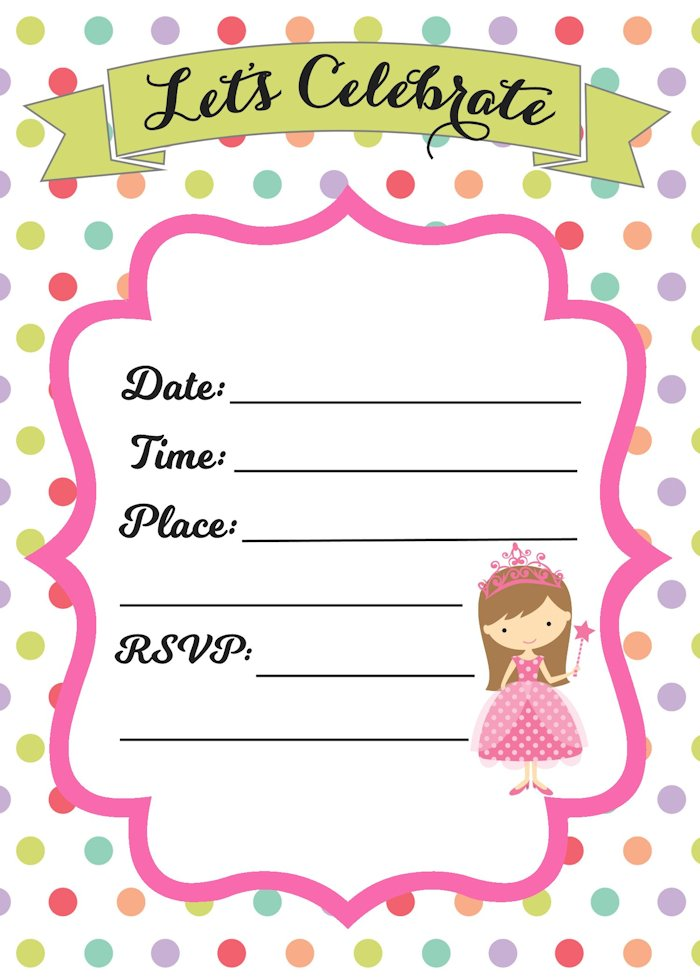 Free Princess party invitation to download and customize
