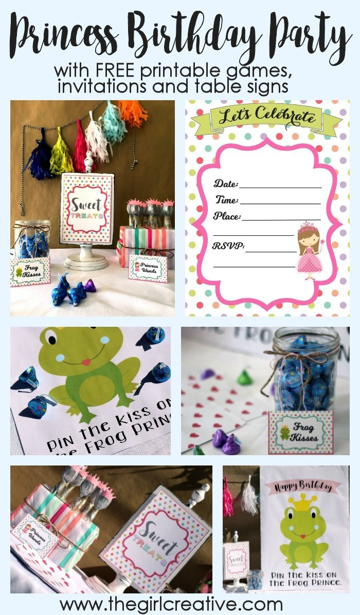Princess Birthday Party Ideas - with Free Printable games, invitations and table signs. Create a super fun treat table with a sweet collection of Birthday candy from Hershey's. #ad