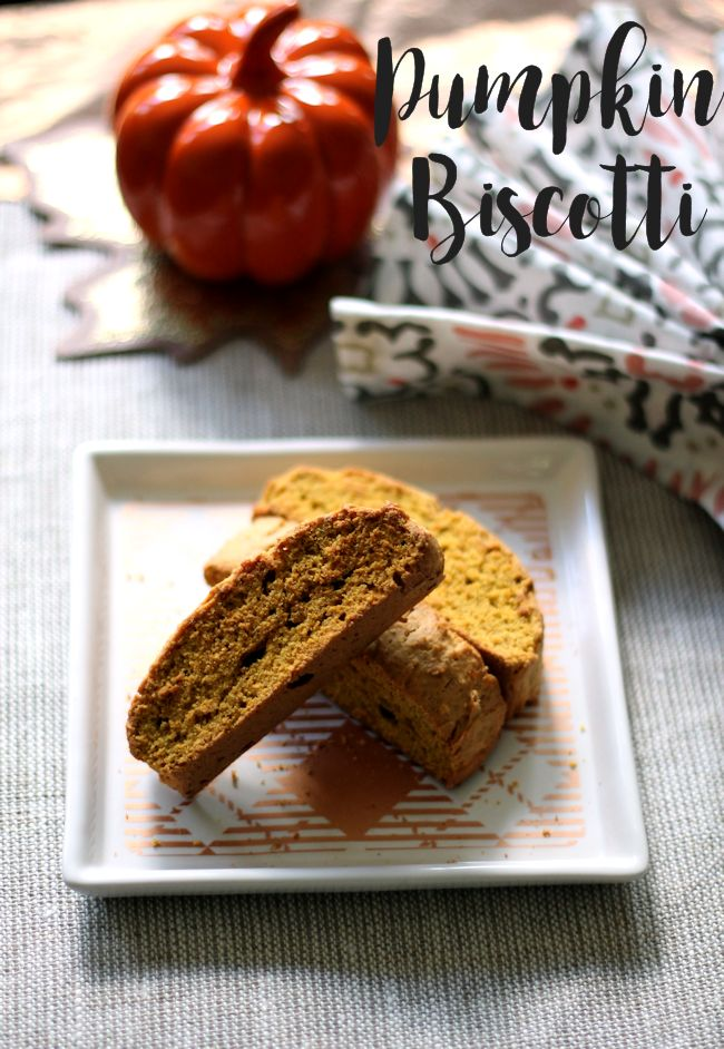 Homemade pumpkin spice biscotti - makes the perfect snack to have with your afternoon Starbucks coffee.