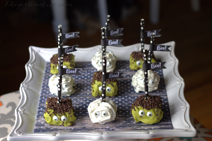 Mummy and Monster Halloween Pops - Super easy party treat to make for Halloween. No baking required. Made with rich, homemade fudge!