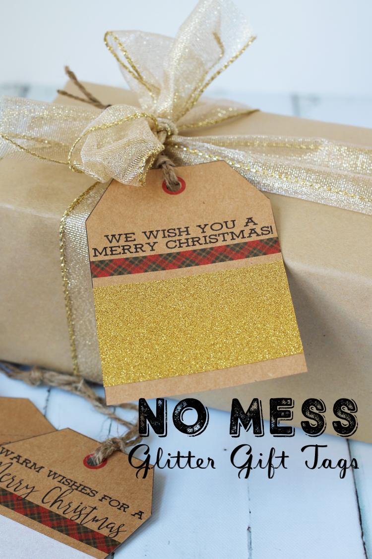 No Mess Glitter Gift Tags for Christmas | Free Printable Christmas Tags