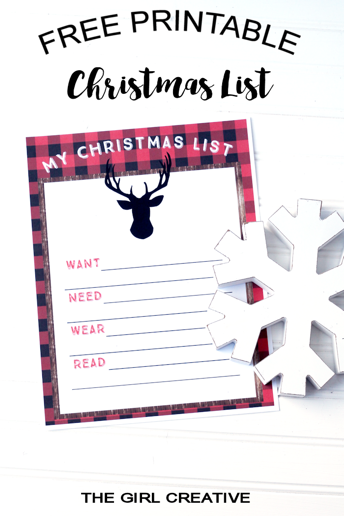 Free Printable Christmas List - Want, Read, Wear, Need List