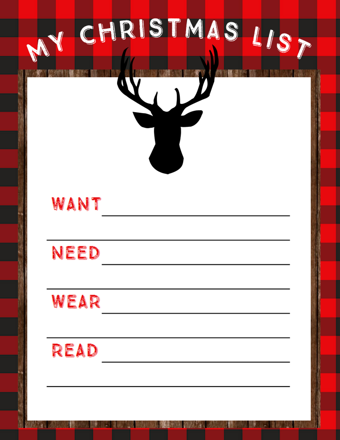 Free Printable Christmas List - Want, Need, Wear, Read