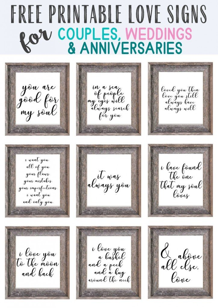 Rustic wooden frames with romantic quotes