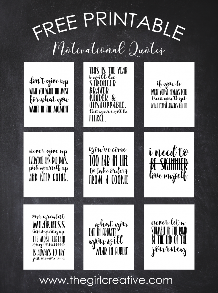 picture about Printable Inspirational Quotes identified as Totally free Printable Motivational Quotations - The Lady Imaginative