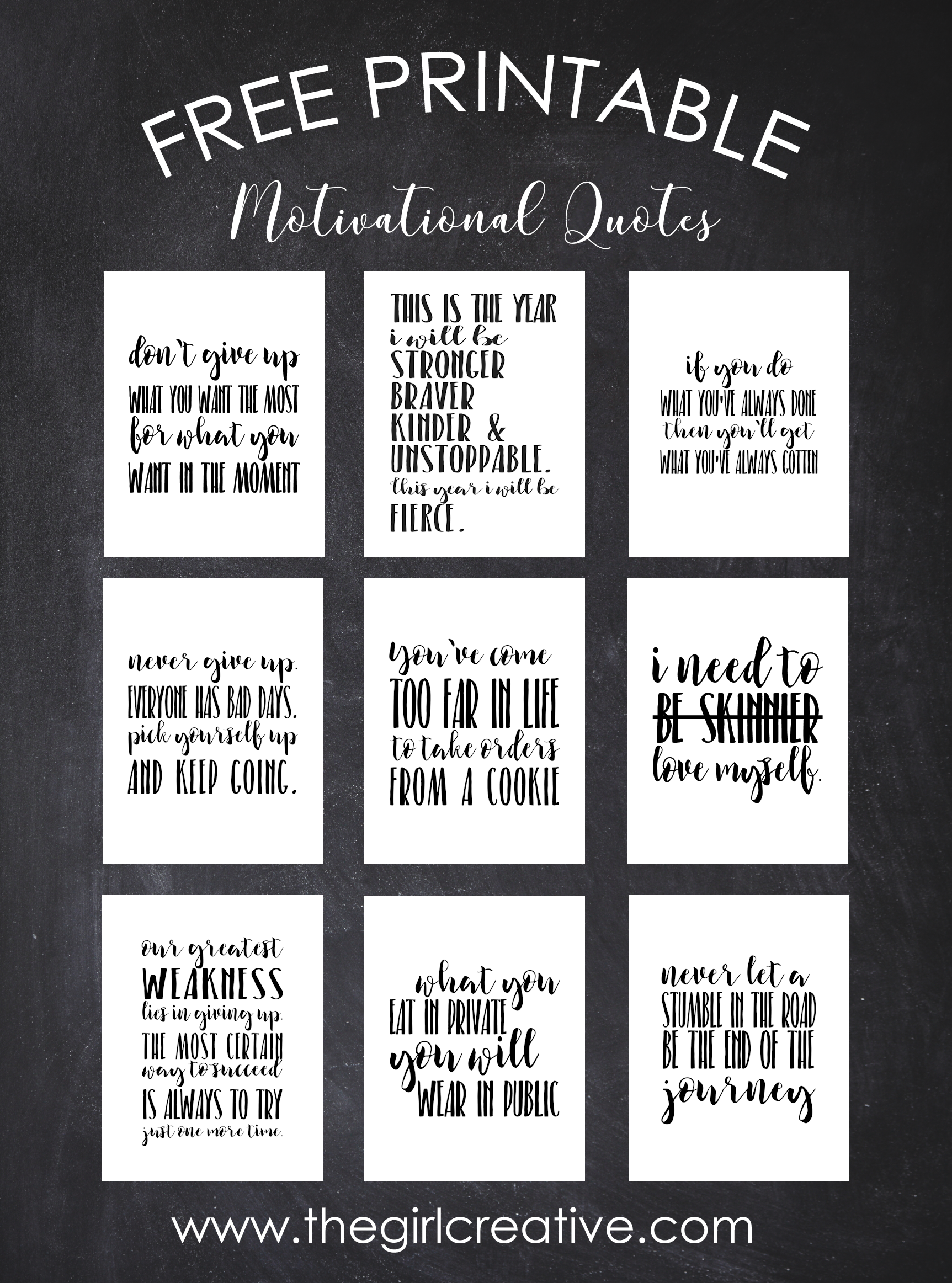 9 FREE Printable Motivational Quotes